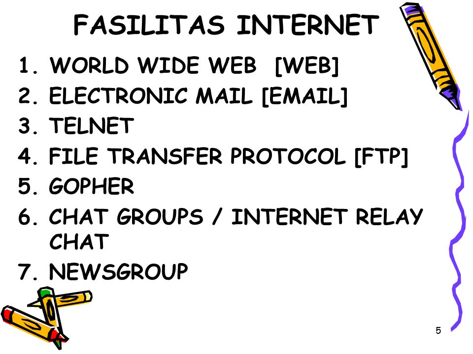 FASILITAS INTERNET WORLD WIDE WEB [WEB] 2. ELECTRONIC MAIL [EMAIL]